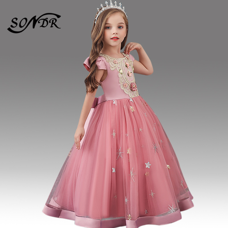 Appliques Flower Girl Dresses HT215 O-Neck Short Sleeve Sequined Embroidery Girls Pageant Dress Bow Zipper Communion Gowns 2020