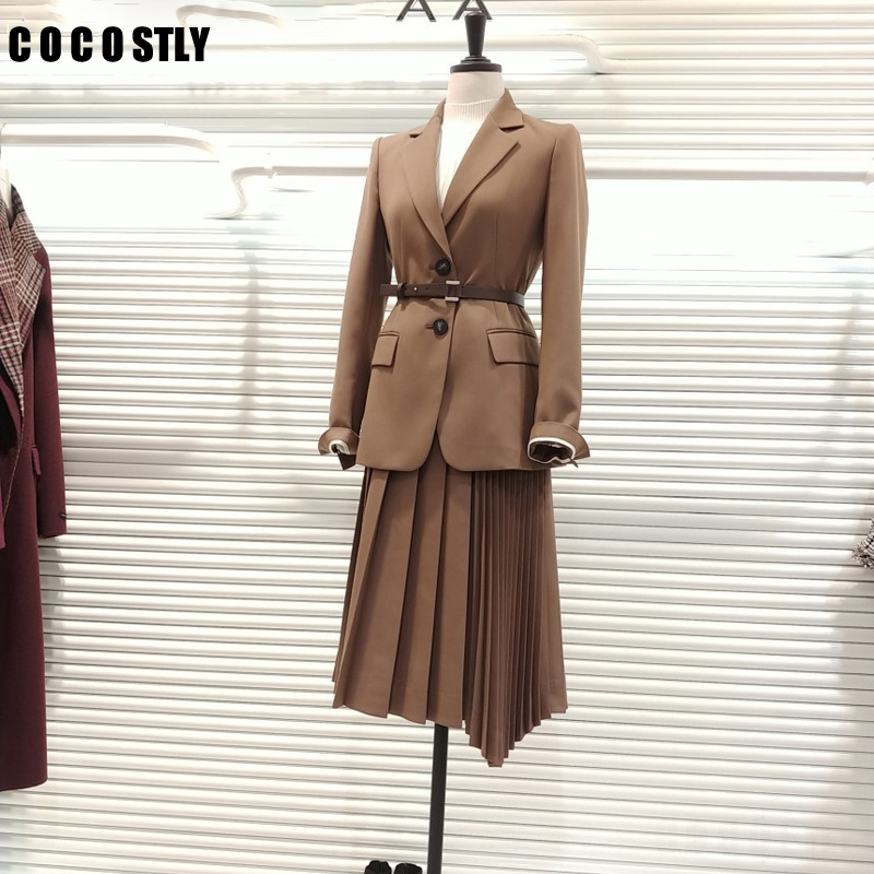 2020 Spring Autumn Korean Suit For Women Solid Casual Blazers Belt Female Blazer Coats Office Lady Single Breasted Blazer