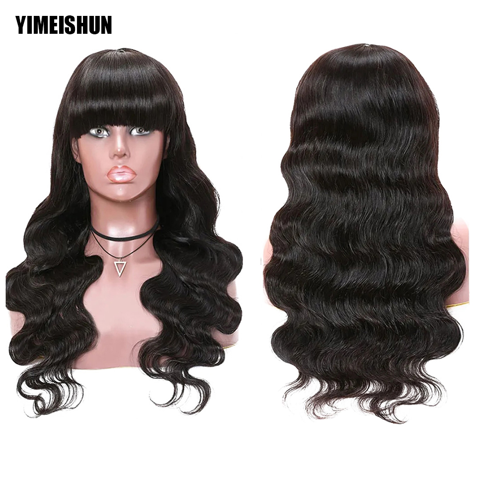 YIMEISHUN Body Wave Wig With Bangs Wigs Human Hair Cheap Weave Brazilian Hair Wigs Glueless Natural Color Full Machine Made Wig
