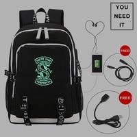 Riverdale Serpent Backpack USB Charging Men Backpack riverdale Schoolbag Glowing At Night Waterproof Laptop Bags Travel Backpack