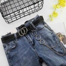 Двойное кольцо, женский ремень, модная цепь на талию, панк ремень из искусственной кожи, металлическая пряжка, ремни для дам, для досуга, платье, джинсы, Дикий Пояс
