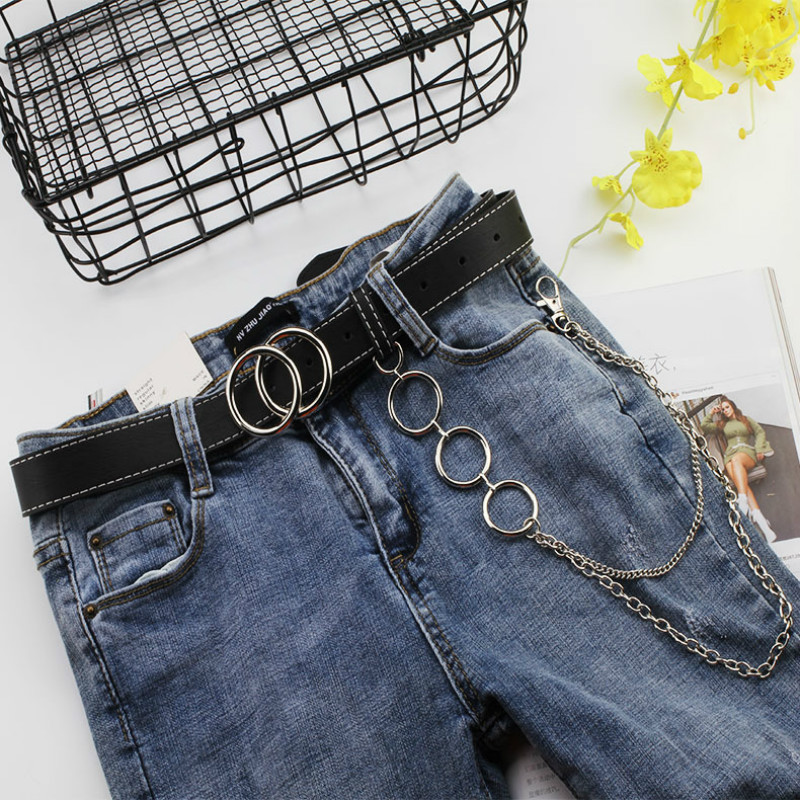 Double Ring Women Belt Fashion Waist Chain Punk Belt PU Leather Metal Buckle Belts For Ladies Leisure Dress Jeans Wild Waistband