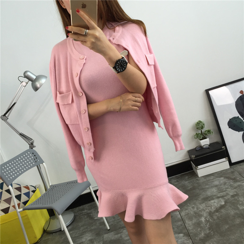 Autumn Winter Women 2 Piece Set Dress 2019 Pink Knitted Single Breasted Cardigan Coat + Vest Ruffles Bodycon Mermaid Skirt Suits