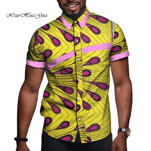 Image 2 - 아프리카 남자 옷 Bazin Riche 인쇄 인과 파티 남자 짧은 소매 탑스 셔츠 Dashiki Ankara WYN714