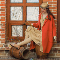 Original Design Women Autumn Winter Mori Girl Sweet Warm Brief Casual Loose Orange Yellow Long Woolen Jacket Wool Coat
