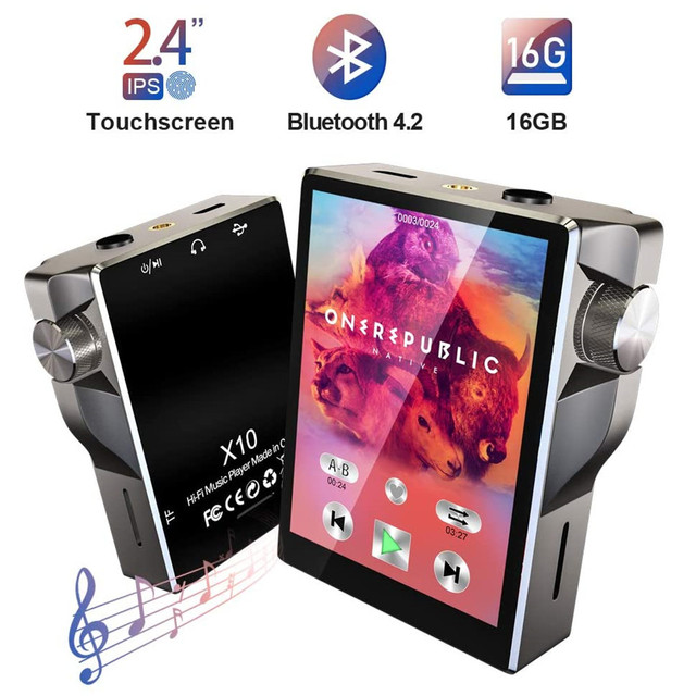 Touch Screen MP3 Player Bluetooth 16GB HiFi Music Player High Resolution Lossless Walkman Audio Video E Book Radio Recording