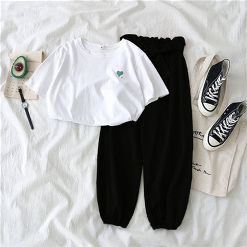 Two Piece Set Tracksuit Women Spring Summer Sportswear Fashion Clothes Casual Embroidered Top And Pant Suit Female