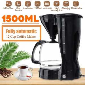 Warmtoo 1500ML 220V 12-Cups Automatic Electric Drip Coffee Maker Espresso Machine Cafe Tea Coffee Pots Anti-Drip Device