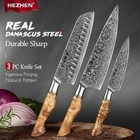 HEZHEN 3PC Kinves Set Professional Damascus Steel Chef Santoku Utility Knife Sharp Cook Kitchen Knife Set