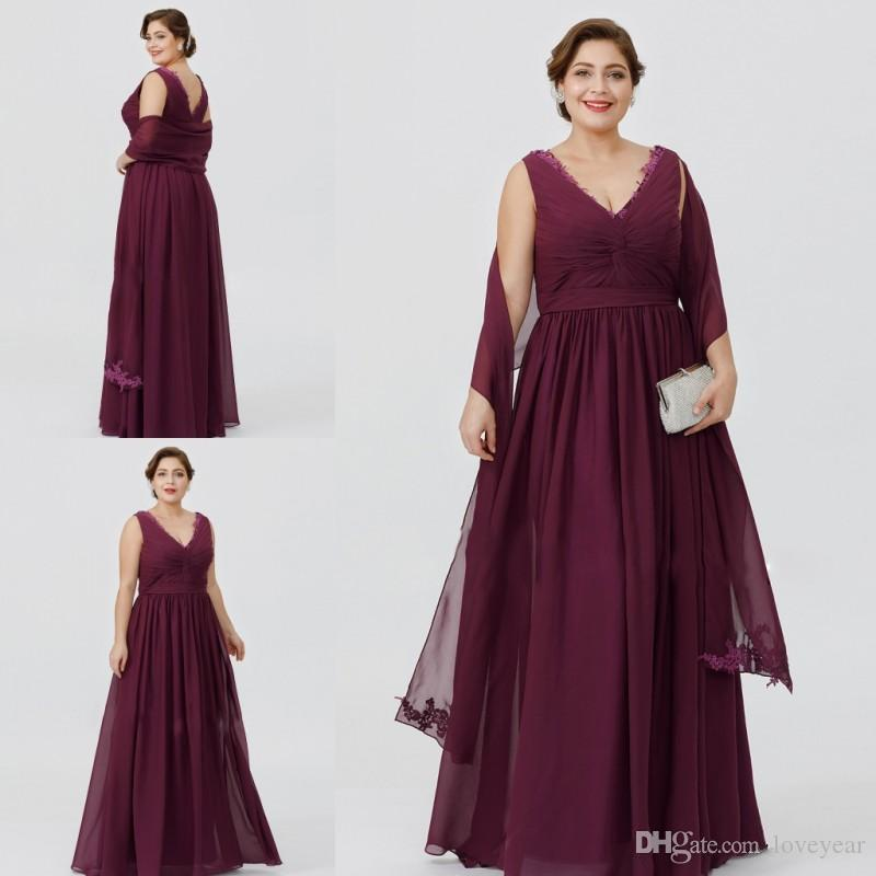 Elegant Plus Burgundy Chiffon A-line Mother Of The Bride Dresses V Neck Floor Length Cheap Mother Dress Formal Evening Gown