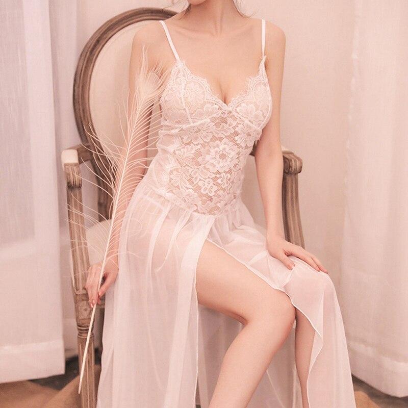 Femme Long nightgown Sleepshirts Ladies Lace Lingerie Dress Nightwear Womens Clothing Sexy Night Dress homewear black nighty|Nightgowns & Sleepshirts|   - AliExpress