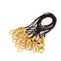20 teile/los Gold Überzogene Hand Handgelenk Lanyard String Cords Kurze Grip Lanyard Handy Gurt Mit Karabiner Seil Schlüsselanhänger