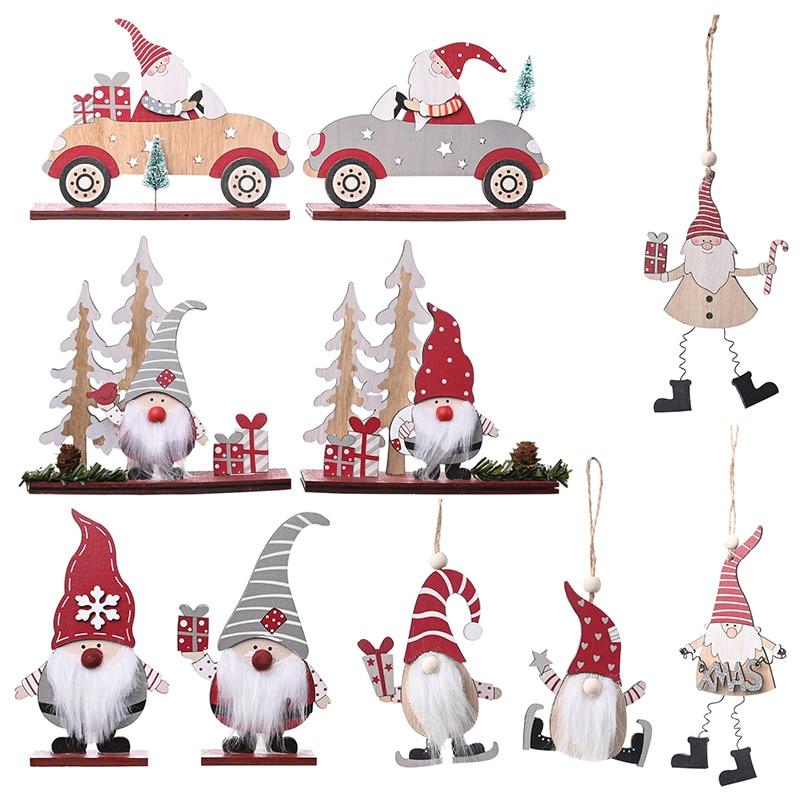 Decoración navideña de Papá Noel, adornos navideños de madera, árbol de Navidad, regalo de Navidad, colgantes de madera 2021