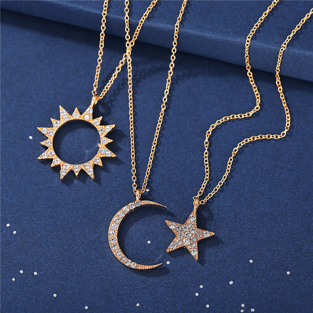 17KM Vintage Moon Star Sun Necklaces For Women Ladies Crystal Gold Pendant Necklace 2020 New Design Choker Fashion Jewelry Gift 6