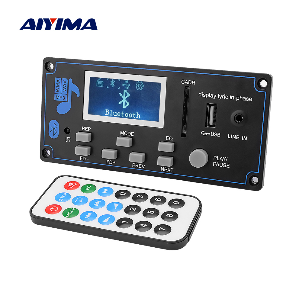 AIYIMA 12V LCD Bluetooth MP3 Decoder Board WAV WMA Decoding MP3 Player Audio Module Support FM Radio AUX USB With Lyrics Display