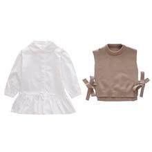 Toddler Girl Vest Pullover Knitted Baby Gril's Korean Children's Thin Round-Neck Wool