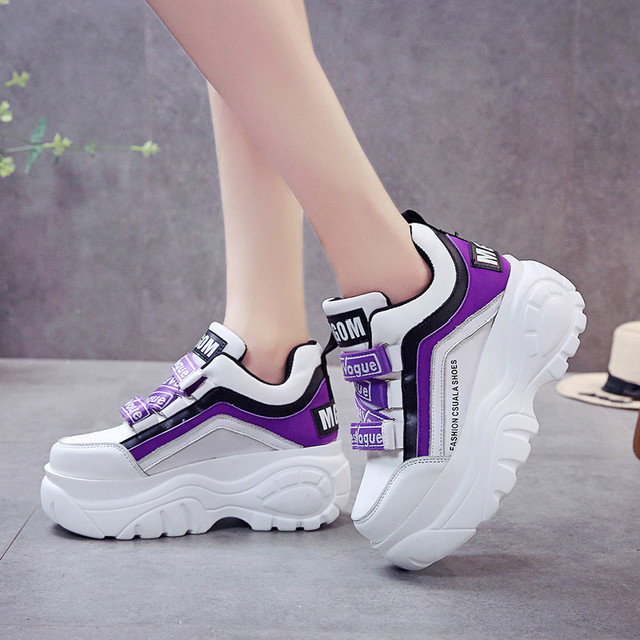 Rimocy thick bottom chunky sneakers women white black patchwork high platform shoes woman casual autumn winter