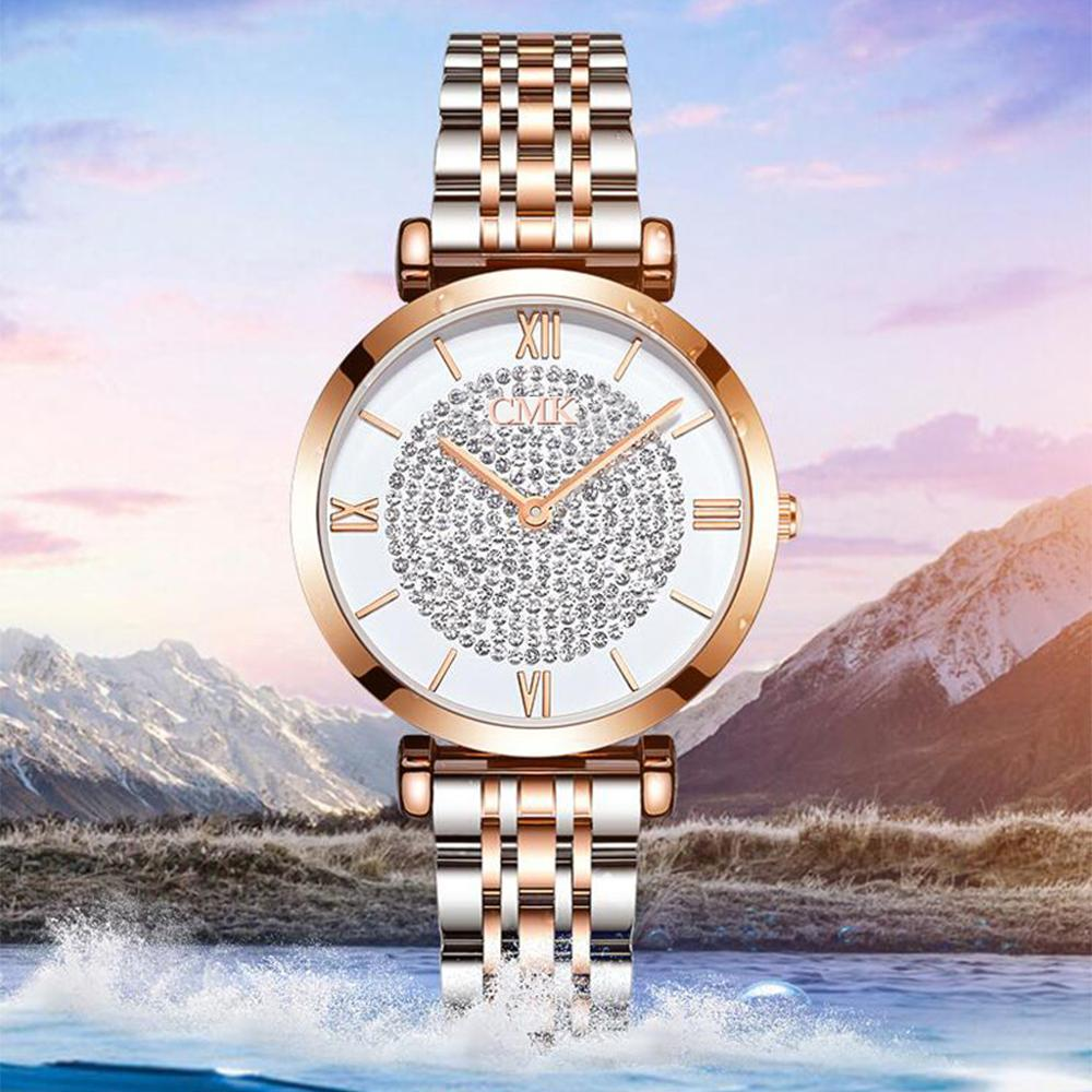 2019 Women Bracelet Watches Top Luxury Brand Fashion Rhinestone Ladies Quartz Wrist Watch Stainless Steel Waterproof Clock xfcs in Women 39 s Watches from Watches