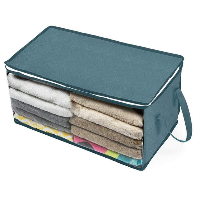 2 pcs clothes storage box non-woven fabric folding quilt clothes organizer dust-proof moisture-proof reinforced хранение вещей