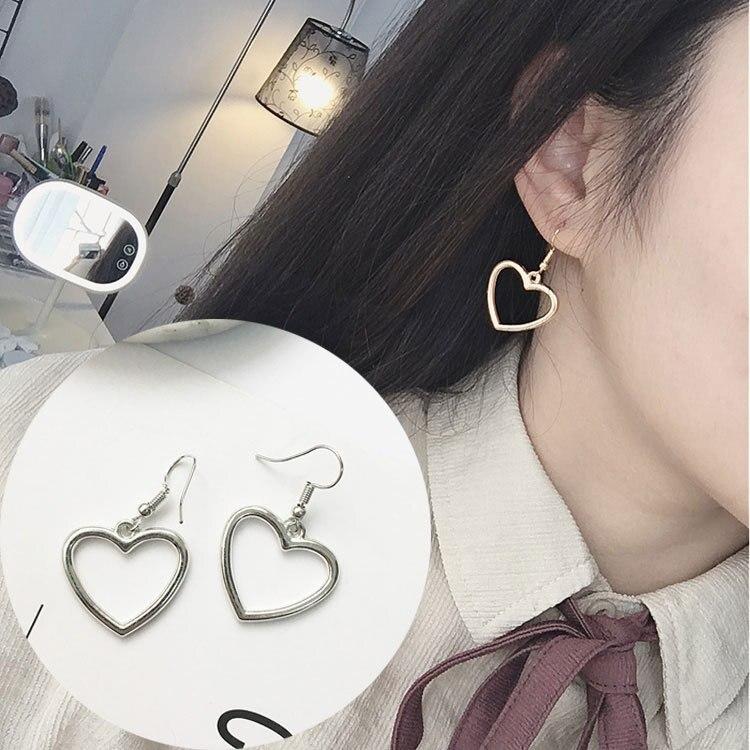 Japanese Harajuku Soft Cute Girl Hollow Geometric Heart Shape Sweet Gold Love Earrings