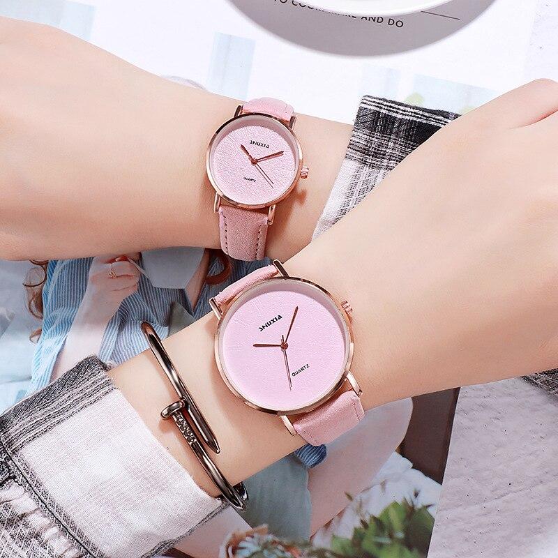Hot Fashion Lovers Watches Men Women Casual Leather Strap Quartz Watch Women's Dress Couple Watch Clock Gifts Relogi No Bangle