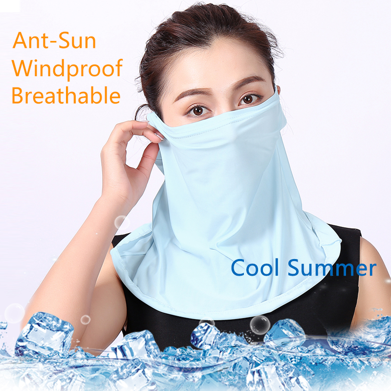 2020 Solid Women Face Mask Scarf Ring Earloop Ice Cloth Summer Sunscreen Protection Driving Outdoor Riding Face Scarves For Lady