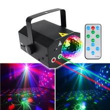 16 Pattern Red Green Laser Stage Lighting LED Rotary Magic Ball Disco Ball Lights KTV Bar Home DJ Disco Party Lights
