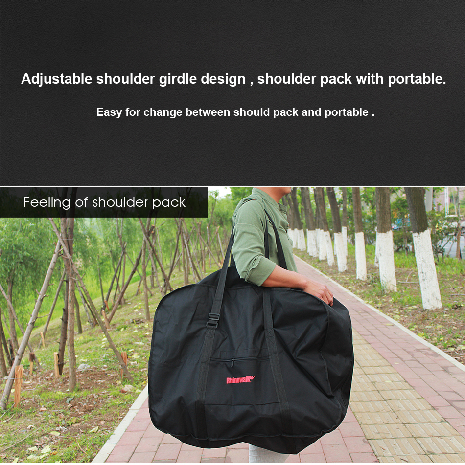 Perfect Rhinowalk 14 inch 20 inch Folding Bike Bag Loading Vehicle Carrying Bag Pouch Packed Car Thickened Portable Bicycle Pack 25