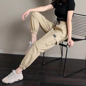 2021 kobiet Cargo spodnie casualowe w stylu Streetwear spodnie Harajuku Hip Hop Harem spodnie spodnie dresowe dla joggerów wysokiej talii luźne damskie spodnie tanie i dobre opinie liser Spodnie cargo COTTON POLIESTER LOOSE Spodnie do kostek Z KIESZENIAMI Łączone CN (pochodzenie) Lato HIGH P276 Stałe