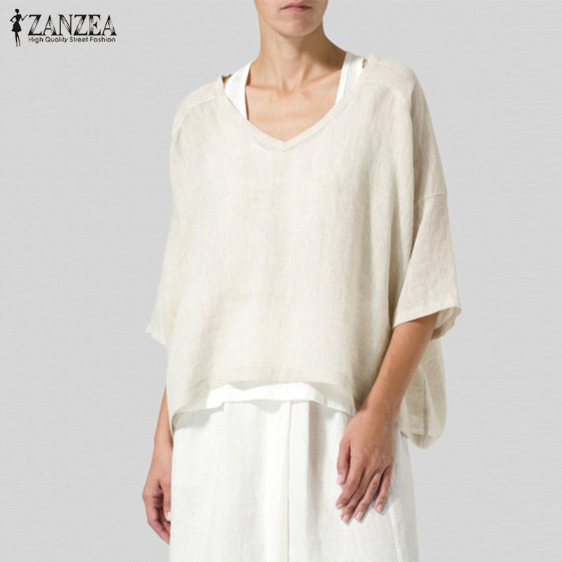 2019 Women Half Sleeve Blouse Summer V Neck Cotton Linen Tops Tunic ZANZEA Elegant Solid Blusas Femininas Work Shirt Robe Femme