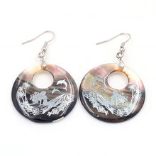 FYJS Unique Jewelry Silver Plated Round Hollow Abalone Shell Ocean Mermaid Drop Earrings for Women Gift