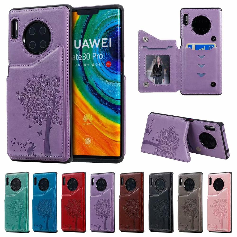Embossed Tree Cat Leather Phone Case For Huawei Mate30 Mate30pro Flip Cover Card Slot Pocket Stand Wallet Case