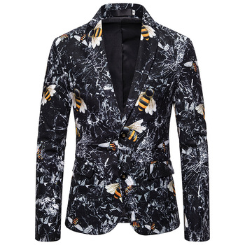 цена EU size 3d-print mens single breast casual blazers good quality long sleeve mens velvet blazers онлайн в 2017 году