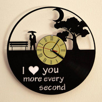 I Love You Romantic Love Vinyl Record Wall Clock Modern Design Wedding Anniversary Marriage Love Story Wall Clock
