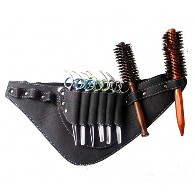 PU Leder Haar Scissor Tasche Clips Tasche Friseur Barber Schere Holster Pouch Inhaber Fall mit Taille Schulter Gürtel Schwarz