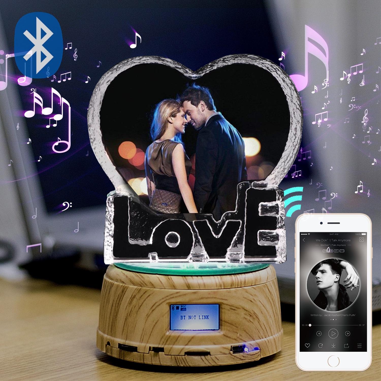 DIY RGB Love K9 Crystal Photo Frame MP4 Bluetooth Music Box Photo Rotating Jewelry Display Turntable Souvenir Gift Dropshipping