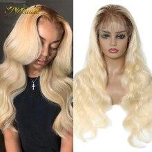 Парик Nadula из человеческих волос с эффектом омбре, светлый парик на полной сетке, предварительно выщипанные Детские волосы, парик на сетке сп...