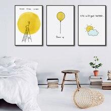 Милый мультфильм холст картины желтые стены искусства прекрасный