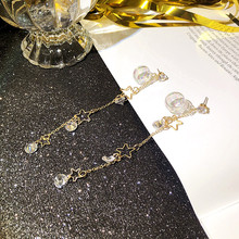 925 Silver Needle Europe and America Stars Tassel Earrings Super Fairy Long Water Glass Ball Dangle