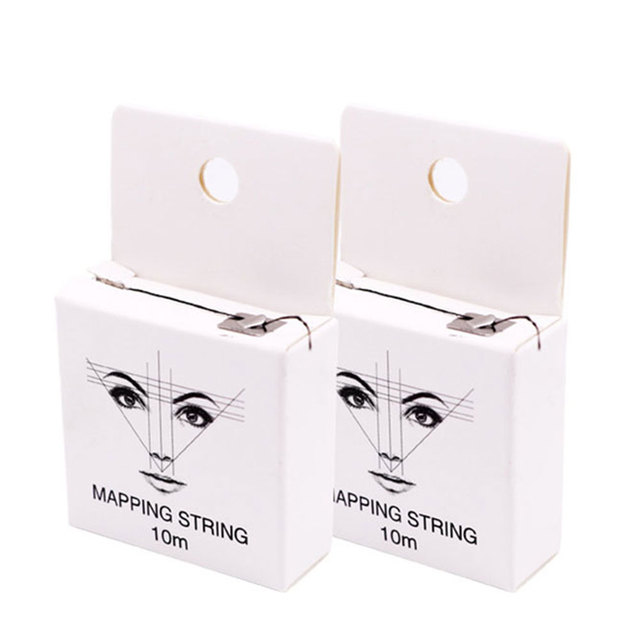 10m 2pcs Permanent Pre Inked Mapping String Microblading Measuring Portable Eyebrow Marker Thread Ultra Thin Brows Point