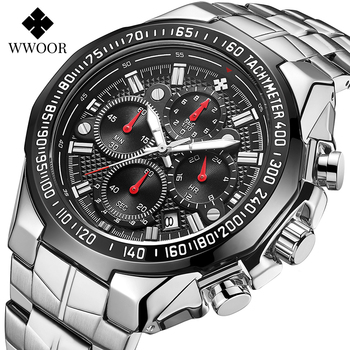 WWOOR Watches Mens 2020 Top Brand Luxury Quartz Watch Men Stainless Steel Waterproof Clocks Sports Chronograph Relogio Masculino relogio masculino wwoor luxury mens analog quartz business gold wrist watch men full steel waterproof sports watches male clocks