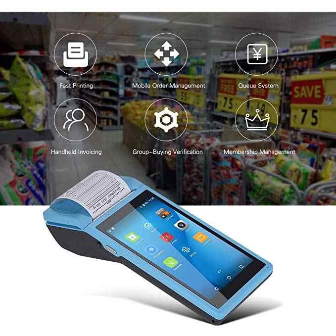 PDA Android Handheld POS Terminal ในเครื่องพิมพ์บลูทูธ WIFI 3G 4G