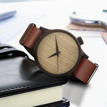 Casual Simple Wooden Watch Retro Design Men And Women Bamboo Dial Leather Band W