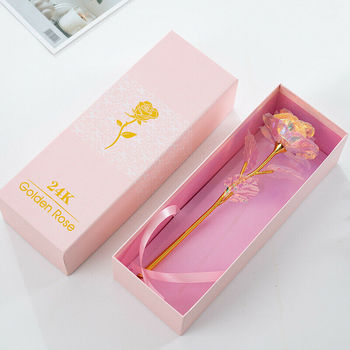 24K Galaxy Gold Foil Rose Artificial Forever Flower+Gift Box+Light - Best Gift f image