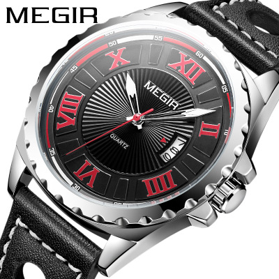MEGIR Mens Watches Top Luxury Brand Male Clocks Military Army Sport Clock Leather Strap Business Quartz Men Waterproof Watch image