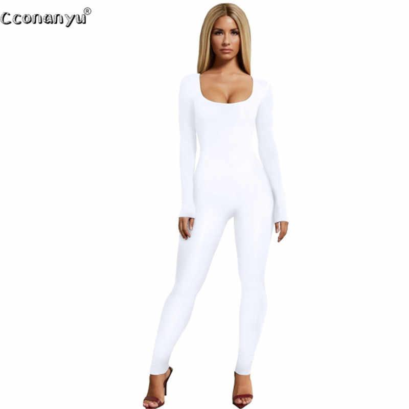 Celana Kodok untuk Wanita 2019 Kulit Hitam Lengan Panjang Wanita Jumpsuit Putih Hijau Rompers Wanita Jumpsuit Celana Panjang Warna Solid