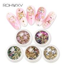 ROWHXY 1 коробка украшения для нейл-арта Красочные Стразы оболочка для ногтей для 3D дизайна ногтей бриллианты сплав для дизайна ногтей для маникюра