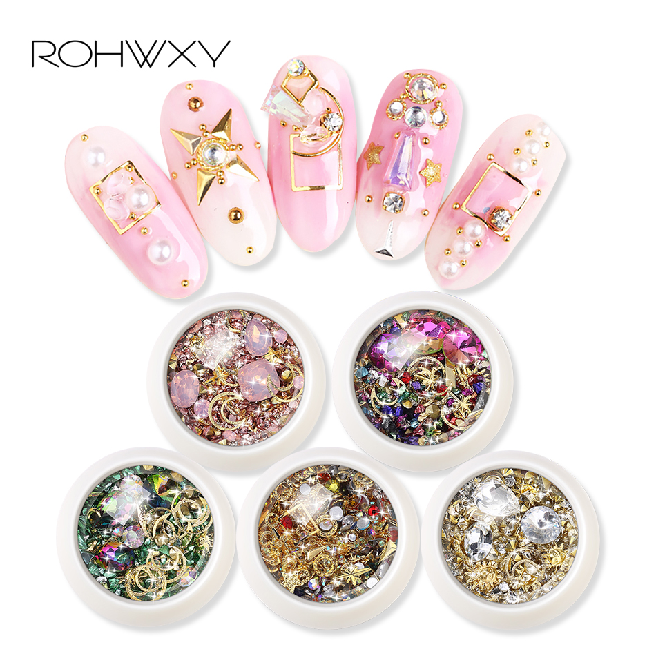 ROWHXY 1 Box Nail Art Decorations Colorful Rhinestones Nail Shell For 3D Nail Art Design Diamonds Nail Art Alloy For Manicure