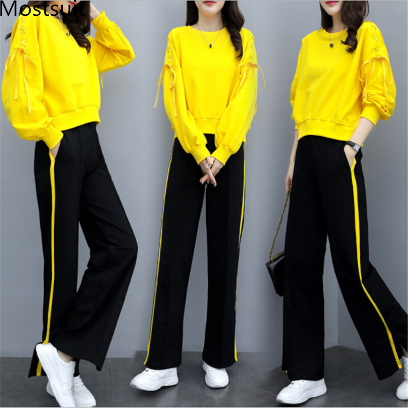 Autumn Winter Sport Two Piece Sets Outfits Tracksuits Women Plus Size Ribbons Sweatshirt And Pants Suits Casual Fashion Sets 31