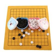 Boîte de rangement pour enfants, jeu familial amusant, 160 pièces, jeu d'échecs, Renju, feuille de cuir, planche, dessin animé, éducatif